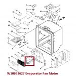 Whirlpool part number W10633627 Evaporator Fan Motor
